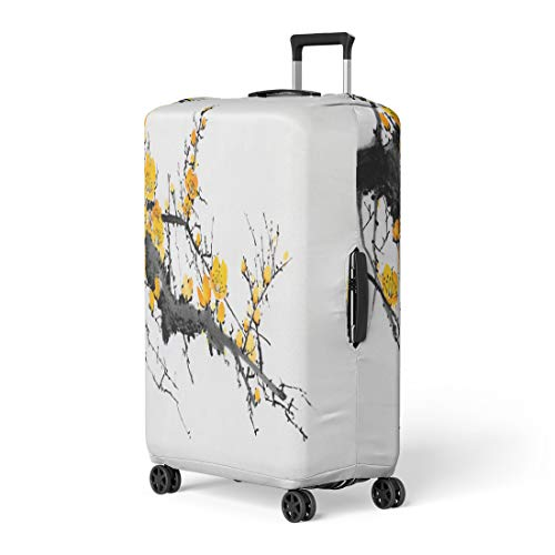 Semtomn Luggage Cover Pink Aroma Flowering Plum Branch on Light Red Botanical Travel Suitcase Cover Protector Baggage Case Fits 22-24 Inch
