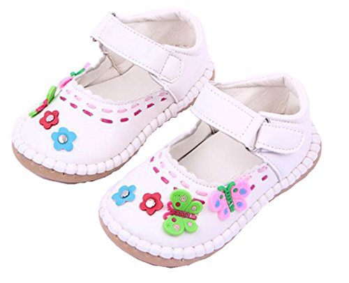 Exdream Baby Kids Girls Toddler Faux Leather Mary Jane Flats Shoes White 6.5 M US Toddler