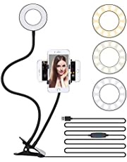 "3.5"" LED Selfie Ring Light Cell Phone Tripod Stand Flexible Arm Mount Stick Holder Clip for Desk,3 Light Mode Circle Filling Lighting for Video meeting,Recording,Photo,Makeup,YouTube,TIK Tok"