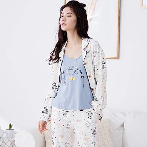 Y Suelto Piezas Baujuxing Primavera Nightdress Pijamas Sexy Home Set Algodón Mujer Otoño Manga Larga Service Xl Tres Sling tqq8Sgnvx