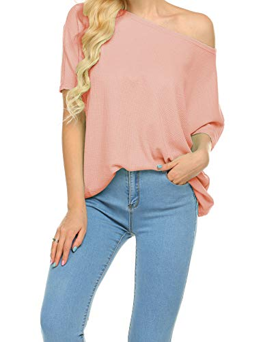 Newchoice Womens Off The Shoulder Summer Tops Casual Short Sleeve Shirts Loose Tunic Blouse (Pink, S)