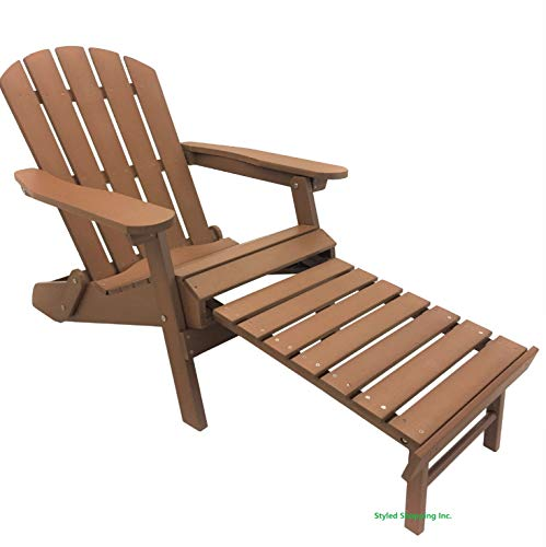 Styled Shopping Deluxe Faux Wood Recycled Poly Folding Adirondack Chair with Build in Ottoman Footrest ()