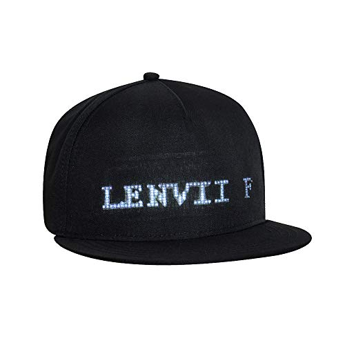 Hat Electronic - LENVII Fashion LED Smart Cool Display Message Hat Cap Mobile APP Control Display Words Flat Visor Hat Cap (Black)