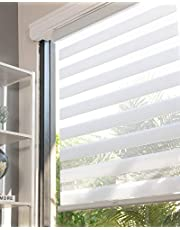 """CHICOLOGY Everyday Cordless Zebra Shades, Light Filtering Dual Layer Window Treatment Perfect for Living Room/ Bedroom/ Kitchen and More-47 W X 72"""" H, Basic Arctic"""