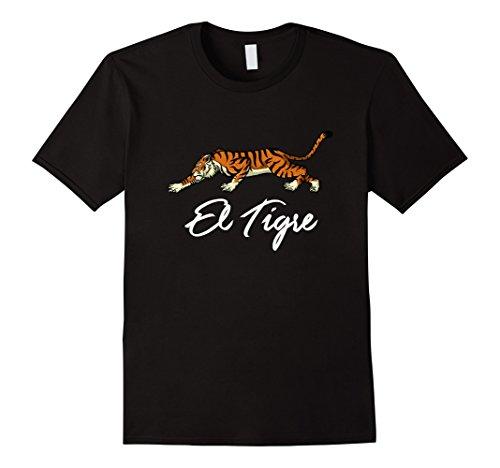 Mens El Tigre! Wild Prowling Tiger T-Shirt Medium Black