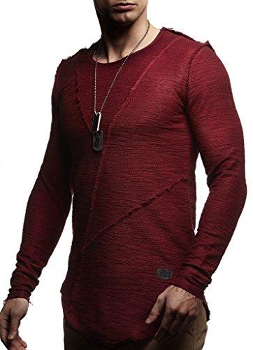 LEIF NELSON Men's Oversized Long Sleeve T-shirt Sweatshirt LN6323; X-Large, Bordeaux ()