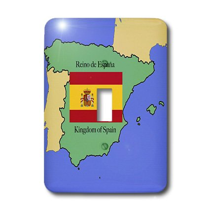 3dRose lsp_40068_1 The Map and Flag Of Spain with The Kingdom Of Spain Printed in Both English and Spanish Single Toggle Switch by 3dRose