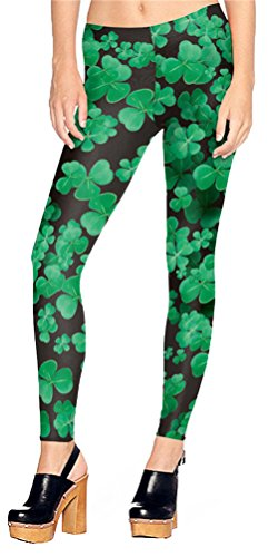 Green Clover Pattern Stretchy Leggings for Women Black Shamrock Skinny Pants -