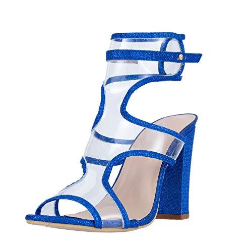 JSUN7 Women's Sexy Lucite Clear Open Toe Chunky Block Heel Sandals Summer High Heel Ankle Strap Sandals Blue