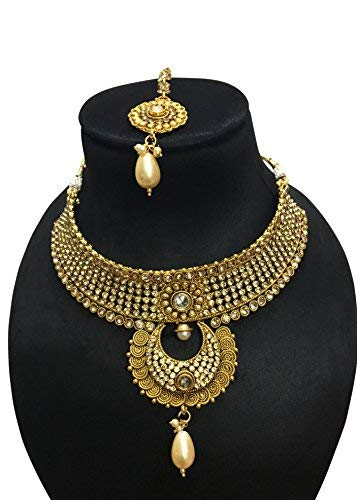 CROWN JEWEL Indian Ethnic Gold Plated Bollywood Bridal Fashion Gold Jewelry Necklace Set for Women