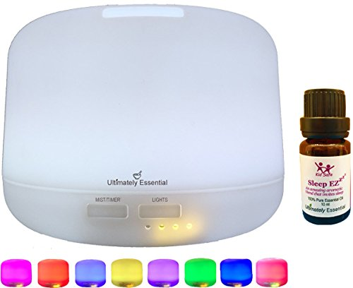 Ultimately Essential Oil Diffuser Ultrasonic Aromatherapy 300 ml Cool Mist Ionizer Multiple LED Lights – PLUS – INCLUDES BONUS BOTTLE OF OUR TOP SELLING SLEEP EZ BLEND & Downloadable E-Book w Reci