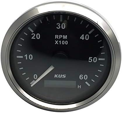 KUS Contagiri RPM Gaometer Con contaore 6000 RPM 85mm 12V//24V con retroilluminazione nero