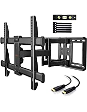 TV Wall Bracket, Tilt Swivel TV Mount Max.VESA 600x400mm for 37-70 Inch LED LCD Plasma Flat& Curved Screens up to 60kg, Includes 1.8m HDMI Cable, Bubble Level,Cable Ties