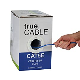 Cat5e Riser (CMR), 1000ft, Blue, 24AWG 4 Pair Solid Bare Copper, 350MHz, ETL Listed, Unshielded Twisted Pair (UTP), Bulk Ethernet Cable, trueCABLE 19 HIGH PERFORMANCE NETWORK CABLE. This riser rated cat 5e cable is 24 AWG with 4 pairs (8 conductors). Suitable for Fast and Gigabit Ethernet. Supports bandwidth of up to 350 MHz. HASSLE FREE PACKAGING. 1000 feet (305 meters) of our trueCABLE product has been packaged in a tangle free, easy pull box so you don't have to worry about getting behind on your next job. 100% SOLID BARE COPPER CONDUCTORS. Pure bare copper produces a stronger signal along with better conductivity and flexibility when compared to copper clad aluminum (CCA).