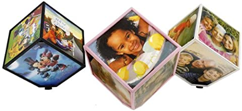 Revolving Photo Cube in Black , Pink and White by LilGift (WHITE) - Plastic Photo Cube