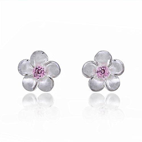 - 925 Sterling Silver Mini Plumeria Hawaiian Flower with Pink Cubic Zirconia Stud Earrings