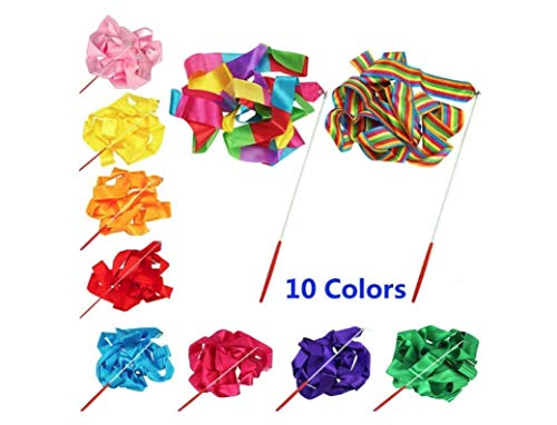 The Only One 10 Colors Gymnastic Dance Ribbon Streamer 4M Dancing Baton Gym Rhythmic Ribbons with Wand Art Artistic Gymnastics Ballet Twirling Rod Stick for Women Girls Kids