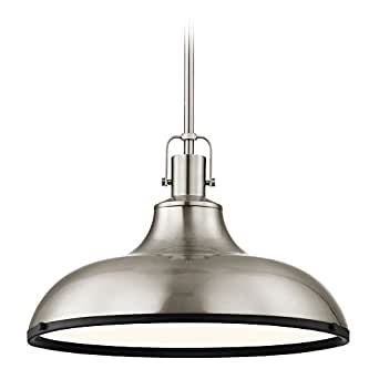 Nautical Pendant Light Satin Nickel and Black 15.63-Inch Wide