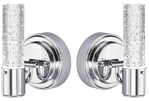 Westinghose Cava One-Light LED Indoor Mini-Pendant, 2 Pack, Chrome Finish with Bubble Glass (LED Wall Pack) ()