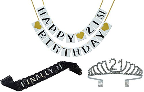 Birthday Party Supplies and Decorations - Sash, Tiara, and Banner All-in-One Pack (21st Birthday) ()