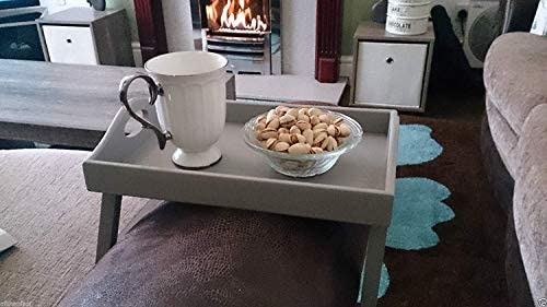 Biznest Grey Wooden Armchair Tray Sofa Tray Drink Holder Remote Holder Wooden Tray