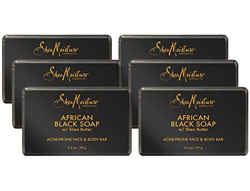 Shea Moisture Soap with Shea Butter, Acne Prone Face and Body Bar, 3.5 Ounce (6 Pack)