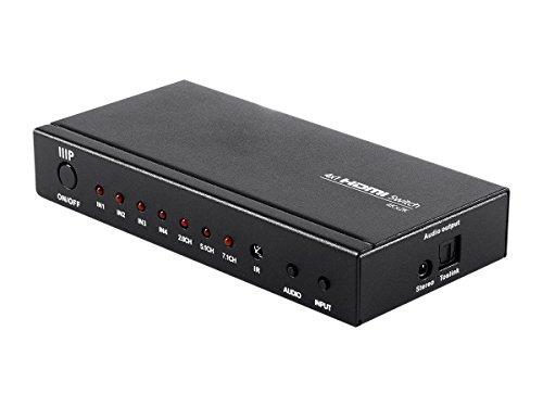 Monoprice Blackbird 4K 4x1 HDMI Switch with Digital Coaxial and Digital Optical Audio Outputs