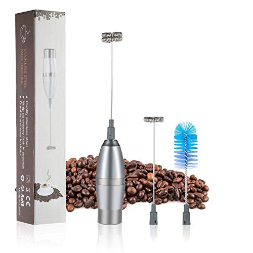 Milk Frother Electric Handheld Portable Powerful Milk Foamer for Latte/Cappuccino Coffee Chocolate,Durable Stainless Steel Egg Beater and Drink Mixer with 2 Whisks and 1 Clean Brush(Battery Operated)