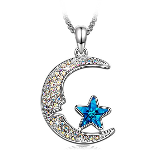 Kate Lynn Mothers Day Necklace Jewelry Gift Womens Blue Crystals Moon Star Pendant Necklace for Valentine Ladies Gift for Her Birthday Gift for Daughter