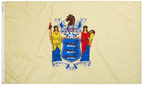 Annin Flagmakers Model 143680 New Jersey State Flag Nylon SolarGuard NYL-Glo, 5×8 ft, 100% Made in USA to Official Design Specifications Review