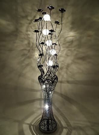Elegance Black Woven Wire And Aluminium Floor Lamp With