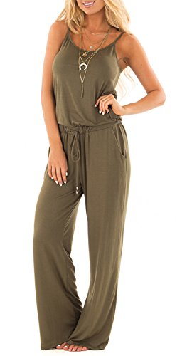 Casual Wide Leg - NuoReel Women Casual Sleeveless Loose Wide Legs Jumpsuit Halter Waist Tie Stretchy Rompers Pants With Side Pockets£¨Light Coffee X-Large£
