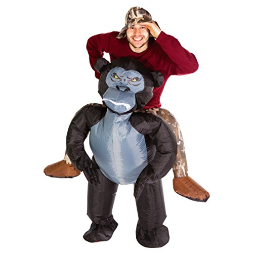 Bodysocks - Inflatable Gorilla Piggyback Monkey Blow Up Animal Safari Adult Fancy Dress Costume - Safari Outfits For Adults
