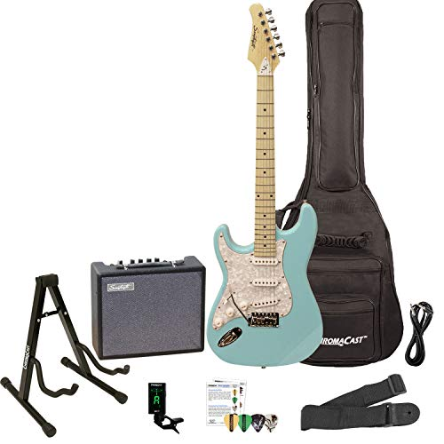 Sawtooth ST-ES-LH-DBLP-KIT-3 Left Handed Electric Guitar in Daphne Blue with White Pickguard, Lesson, Gig Bag, Stand, Cable, Picks, Tuner, Strap and Amplifier