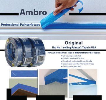 Ambro Professional Painters Tape Multi Surface Use (Blue) (12 pack, 2 inches x 60 yds) by Ambro (Image #4)