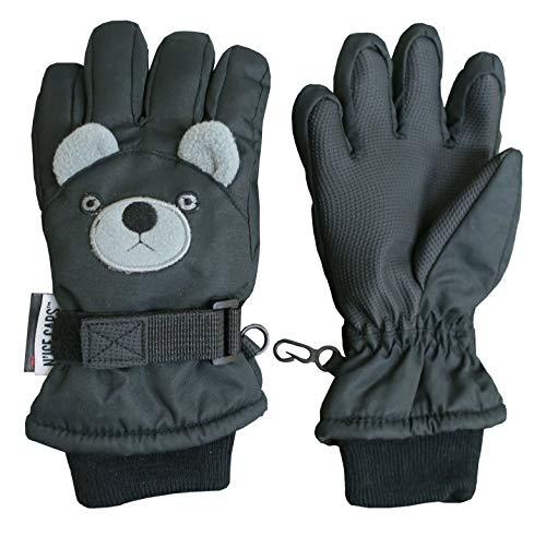 N'Ice Caps Little Kids Squeaky Sound Cute Animal Face Waterproof Gloves (Puppy - Black, 3-4 Years)
