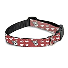 Italian Greyhound Dog Red Paw Heart Pet Dog Collar - 20 in x 26 in