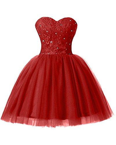 Tuell Brautjungfernkleid Partykleid Rot Mini Bride A Linie Cocktailkleid Applikation Herz Modern Ausschnitt Gorgeous w0z4q7RxPR