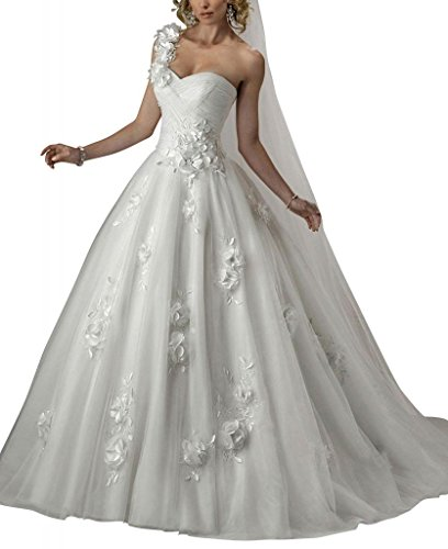 Netto BRIDE GEORGE Blumen ueber Elfenbein Schulter mit Brautkleider Satin Charmante Applikationen Eine Hochzeitskleider xSqqwgApI