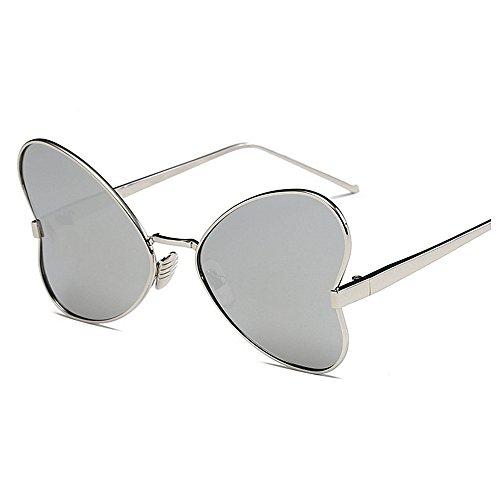 de Gafas Color para de estilo Gafas Gafas de Protección Gafas irregular sol Marco borde mujer conducir señora con de Mariposa polarizadas metal Personalidad sol UV para Negro Silver sol de sol de con xqFaZwAf