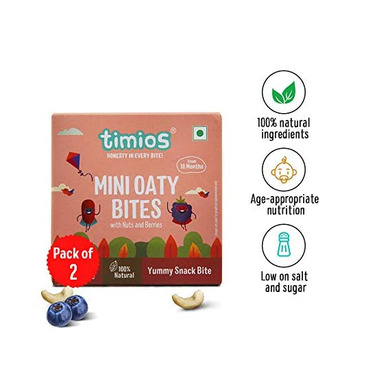 Timios Mini Oaty Bites - Nuts and Berries | Snack Bar for Baby | Pack of 2