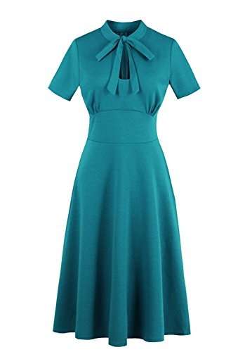 Wellwits Women's Keyhole Bowtie Collared 1940s Vintage Dress Xmas Tree Green XL