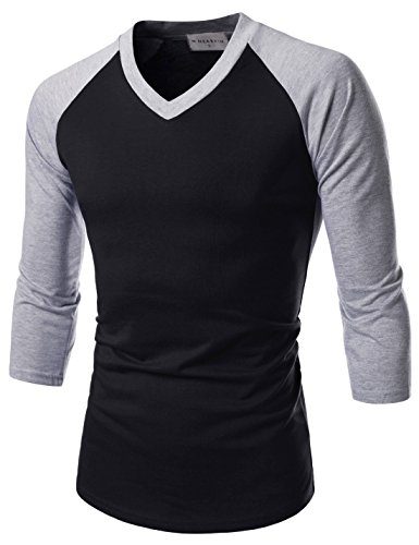 NEARKIN (NKNKR7T621 Unisex 3/4 Sleeve Raglan Design V-Neck Fitted T-Shirts BLACKGRAY US M(Tag Size L)