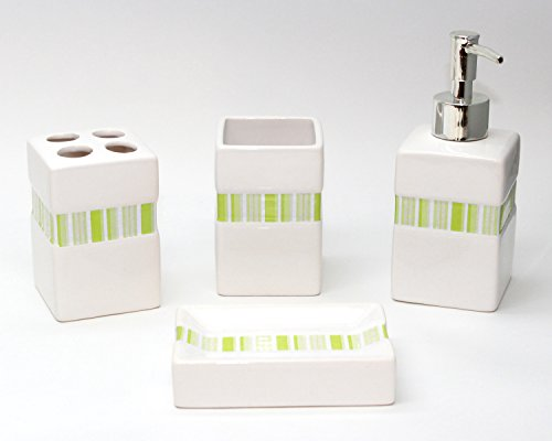 Blissful Living 4 Piece Bath Accessory Set – Includes Toothbrush Holder, Liquid Soap Pump, Tumbler and Soap Dish – Available in Many to Suit Any Bathroom Style (Green)