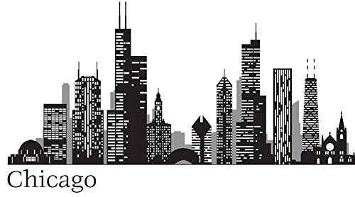 WallPops WPK2519 Chicago Cityscape Wall Art Kit, Black