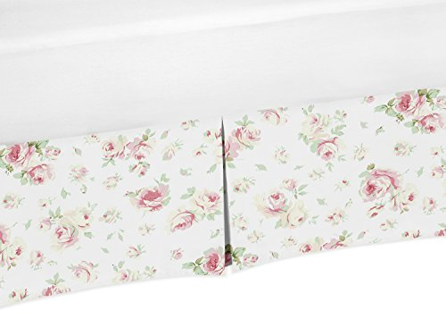 (Pink and Sage Green Floral Crib Bed Skirt Dust Ruffle for Girls Riley's Roses Collection Baby Bedding)