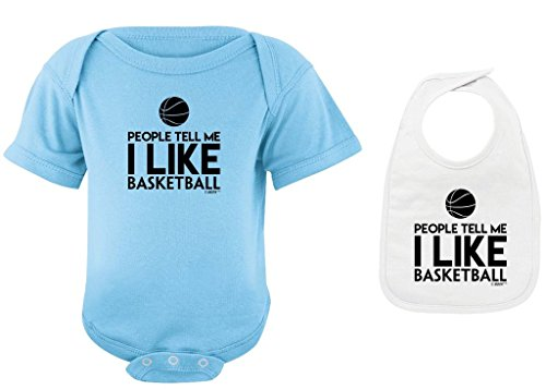 Funny Baby Clothes People Tell Me I Like Basketball Light Blue Bodysuit White Bib Bundle 6 Months
