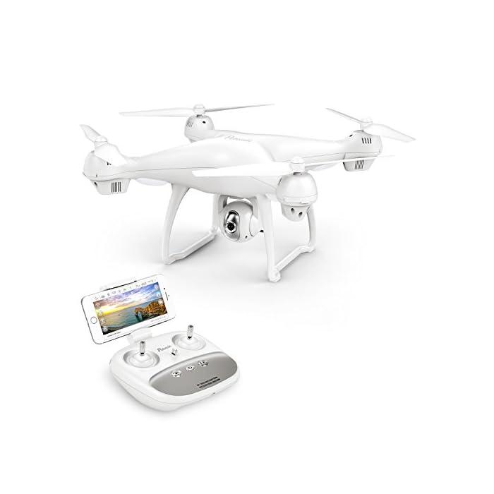 41NcFv0DppL 【Vuelo Asistido por 2 Modos GPS】integrado GPS y GLONASS sistema de posicionamiento, le proporciona detalles de posicionamiento precisos de su Drone con camara HD. Construido en la función Return-to-Home (RTH) para un dron más seguro, el dron regresará automáticamente a su hogar precisamente cuando la batería está baja o la señal es débil cuando vuela fuera del alcance, sin preocuparse por perder el dron. 【Cámara Wi-Fi FPV 1080P 120 ° FOV Optimizada】drone camara angulo ajustable de 90 °, captura videos y fotos de alta calidad. Puede disfrutar de la visualización en tiempo real directamente desde su teléfono(Después de conectar wifi). Ideal para realizar selfie, capturando cada momento desde una perspectiva de pájaro. 【Modo Sígueme】el RC drone lo seguirá automáticamente y lo capturará donde sea que se mueva. Manteniéndolo en el marco en todo momento, más fácil de obtener tomas complejas, proporciona vuelo manos libres y autofoto. drone económico con GPS