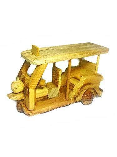 Tuk Tuk Tricycle Wood Model Brown Color Thai Handmade Craft Collectibles Gift Souvenir (Trike Canvas)