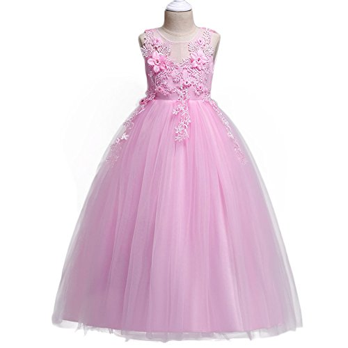 HUANQIUE Girl Embroidery Pageant Party Dress Kids Prom Ball Gown Pink 4-5 T